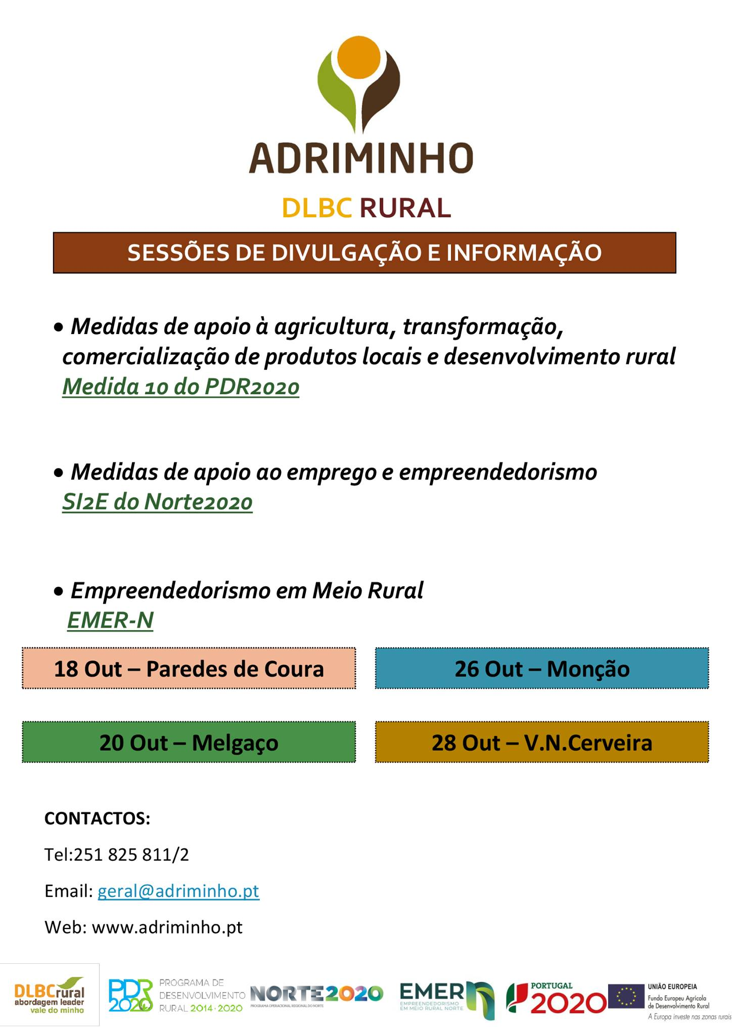 ADRIMINHOpromove Sessões de Divulgação do Projeto EMER N, em Paredes de Coura, Melgaço, Monção e Vila Nova de Cerveira